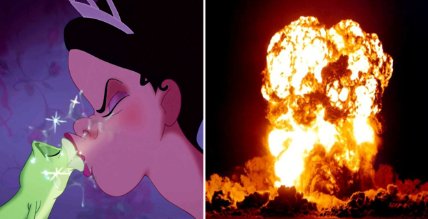 Prince Naveen's transformation into a frog would cause a blast wave that would crush Tiana, according to E=mc2.
