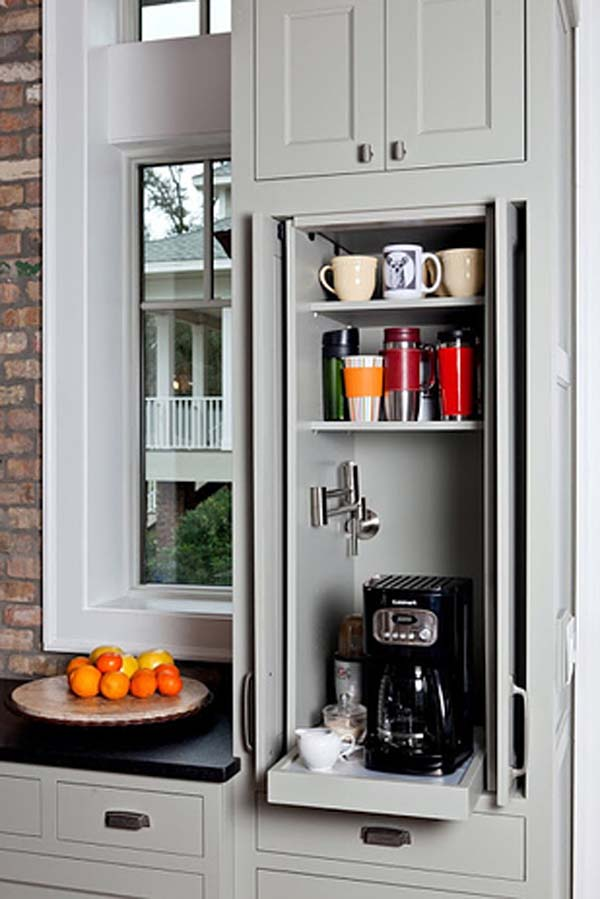 26.) Hide away appliances behind sliding doors.