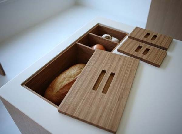 34.) Turn your counter into storage space.