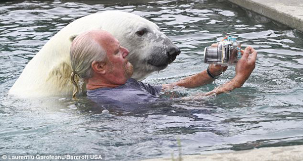 But taking a little swim with Agee the bear is completely normal for Mark.