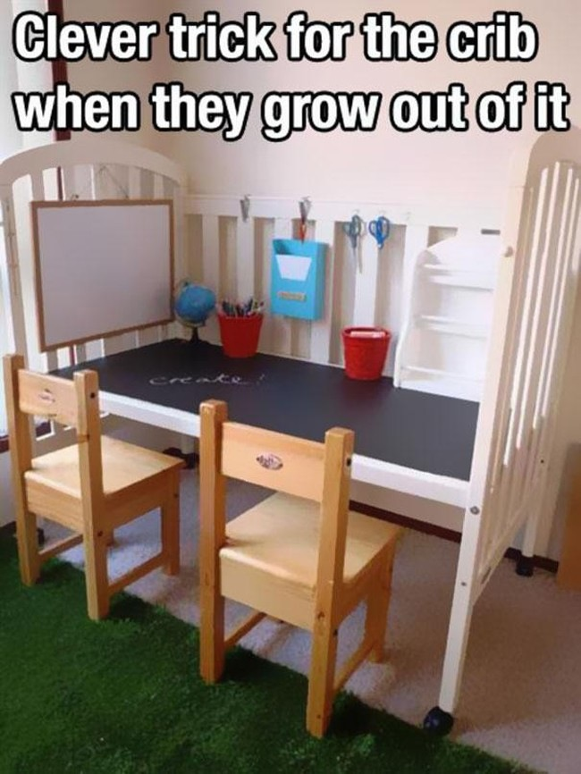 8.) Convert a crib into a desk when they outgrow it by removing just one railing.