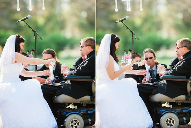 While the disease took its toll on Adam, eventually forcing him into a wheelchair, they planned their perfect wedding day.